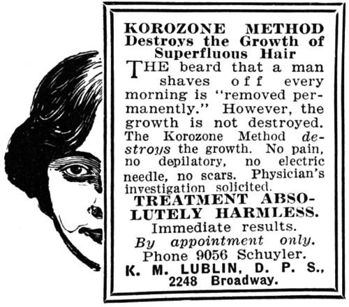 Реклама удаления волос озоном от г-жи Люблин (1915 г.)