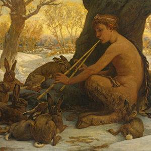 Элиу Веддер (1836−1923) «Юный сатир Марсий завораживает зайцев игрой», 1878